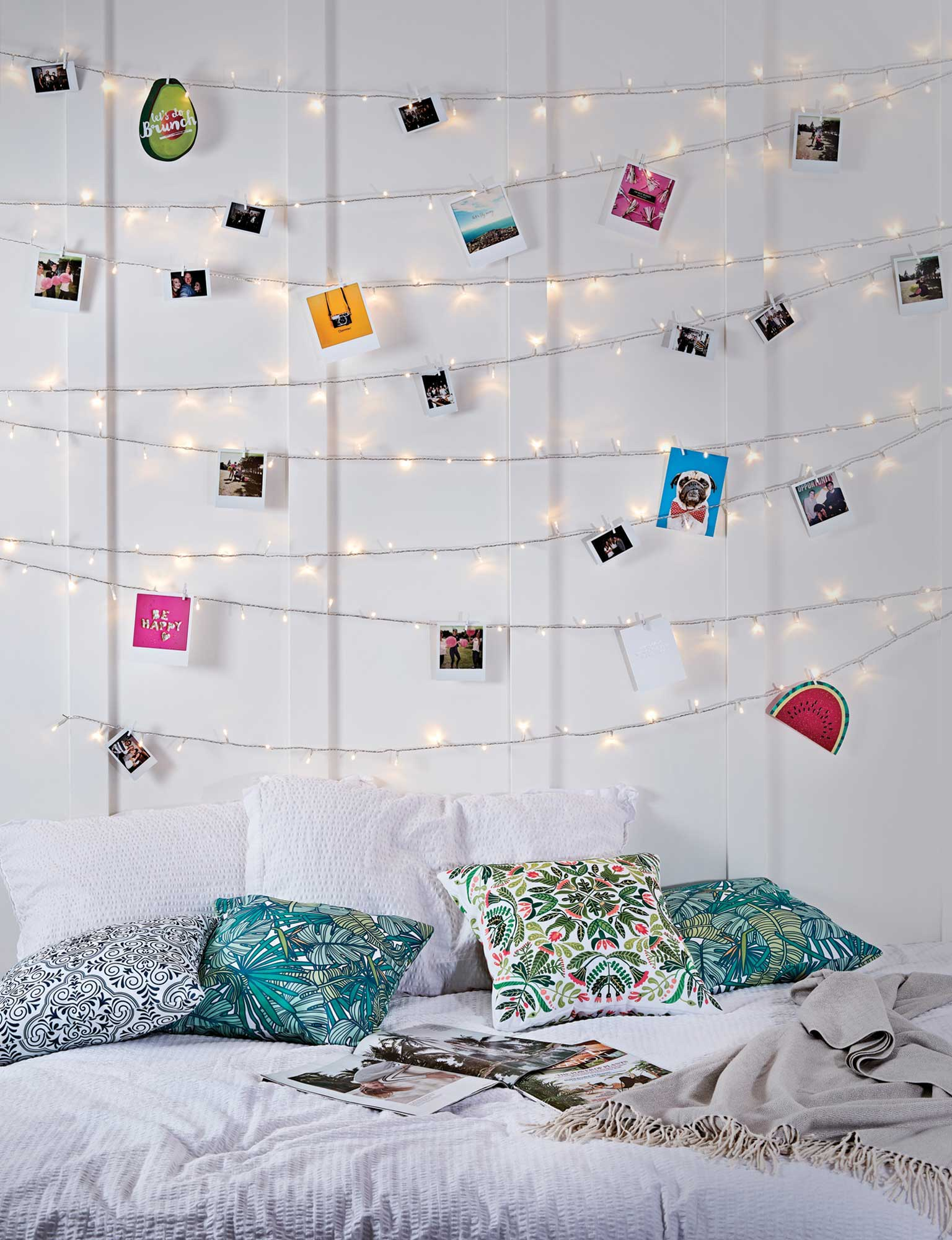 Pin your favorite photos to fairy lights