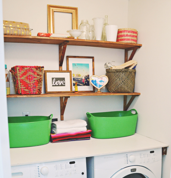 11 easy diy open shelving projects for any room for Open shelving laundry room
