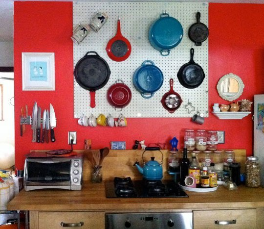 Kitchen storage ideas how to make your own pot rack for Kitchen pegboard ideas