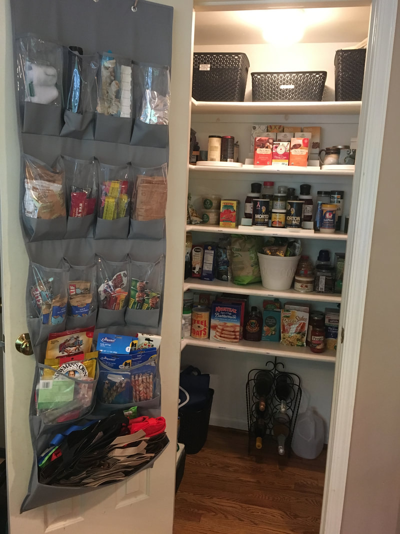 use a shoe organizer to store snacks