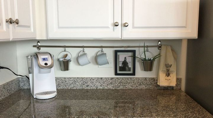Declutter Kitchen Countertop With A Curtain Rod