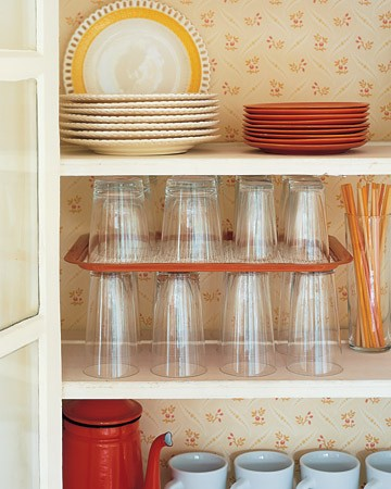 Use a Serving Tray as a Shelf Divider