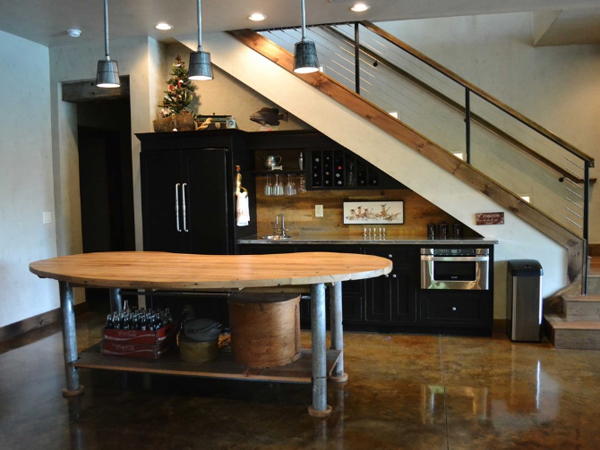 Top 15 most awesome ways to use the space under stairs for Kitchen designs under stairs