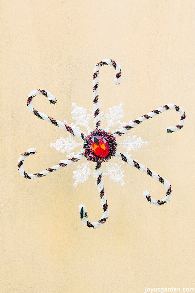 A Candy Cane Snowflake Ornament