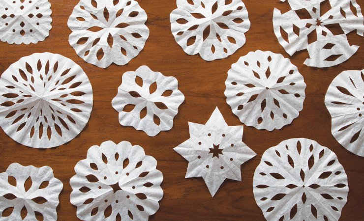 Coffee-Filter Snowflakes