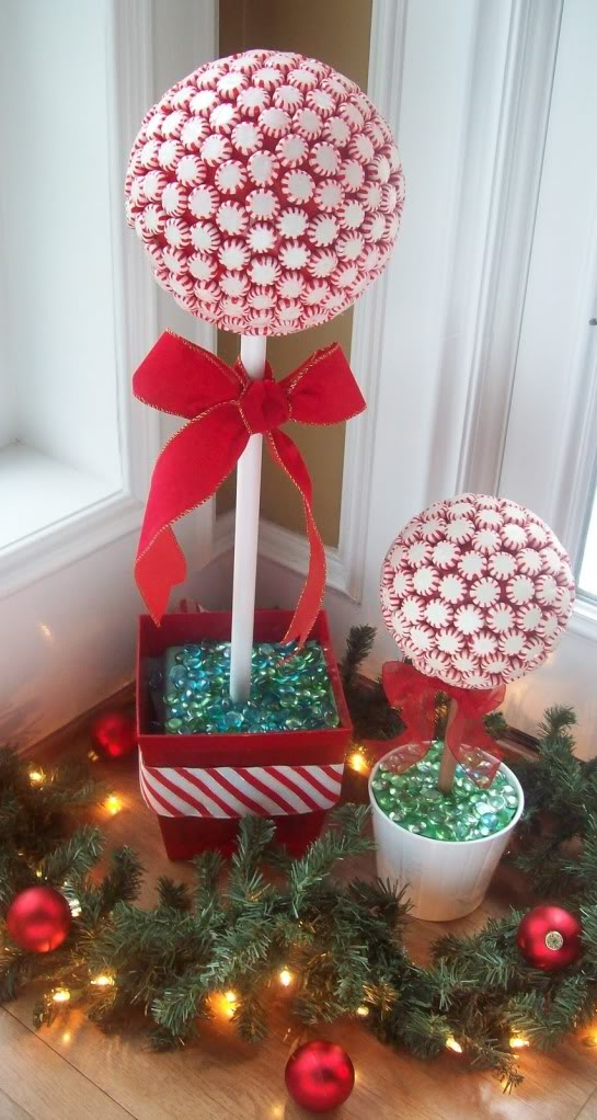 create peppermint candy topiaries for christmas decor - Simple Christmas Decoration Ideas