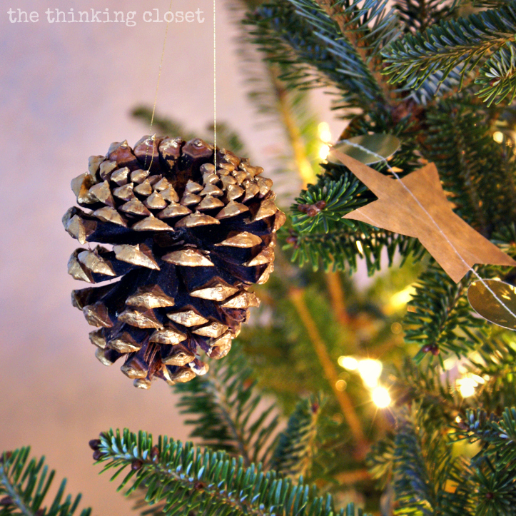 Gold-Brushed Pine Cone Ornaments
