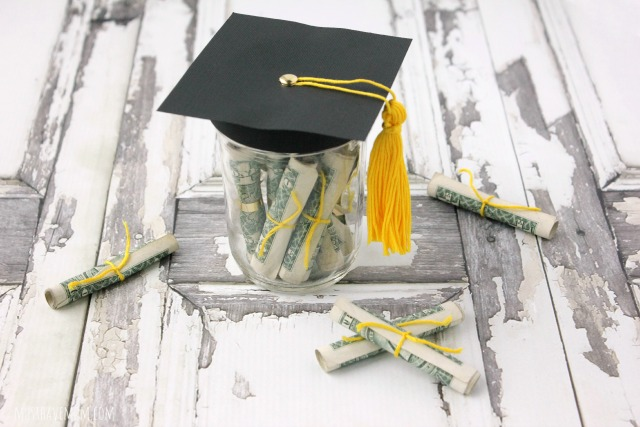 Graduation Cap Mason Jar Filled With Money Diplomas!