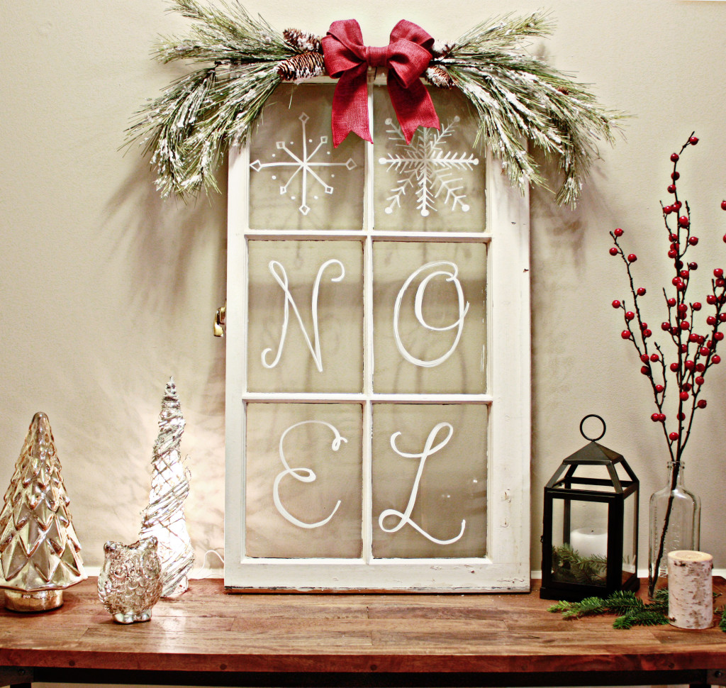 rustic window pane - How To Decorate Windows For Christmas
