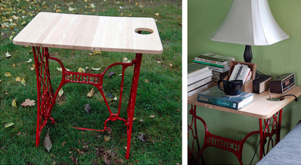Sewing Machine + Cutting Board = Perfect Bedside Table
