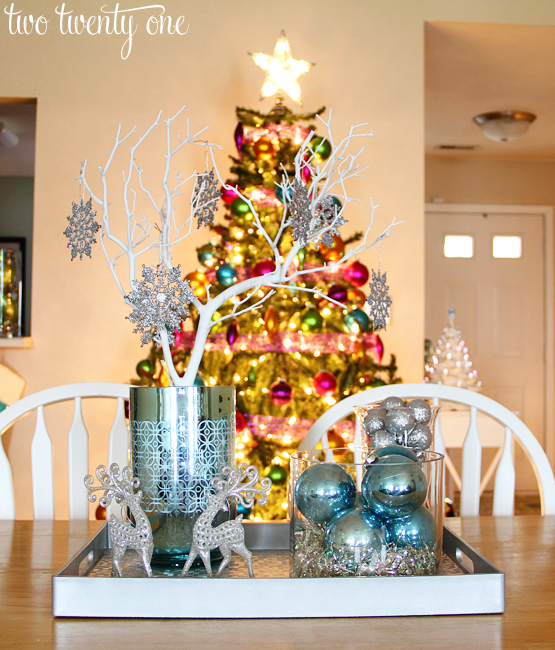 Silver & Blue Christmas Centerpiece