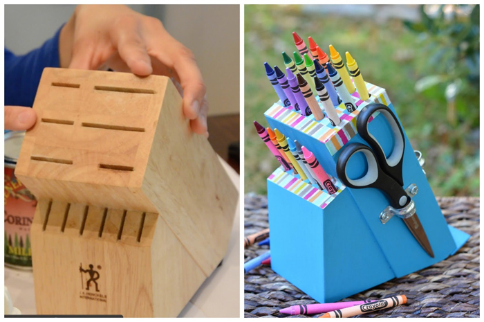 Turn an Old Knife Block into a DIY Crayon Holder