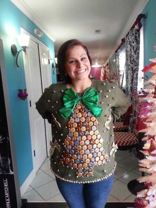 Ugly Christmas Sweater Made from Bottle Caps
