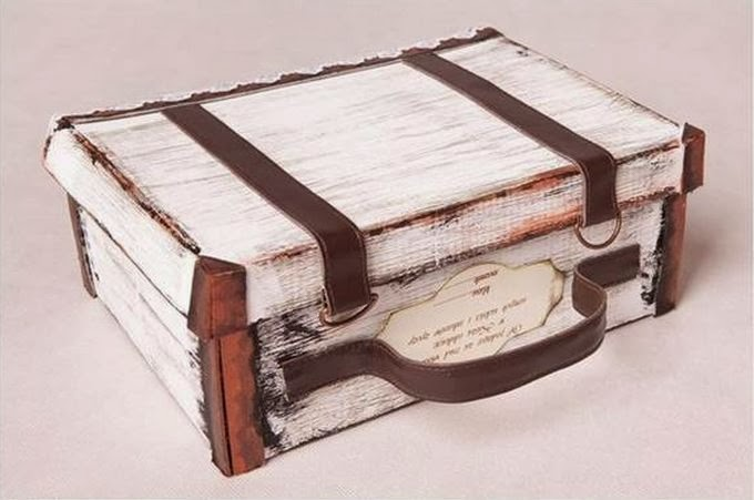 A Simple Shoebox Can be Transformed into a Really Cute Antique-looking Mini Suitcase