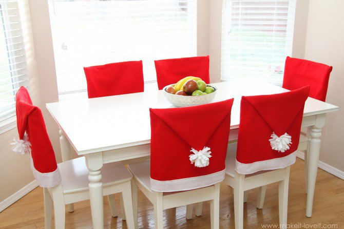 Add some color to your dining room with these felt Santa Claus Hats