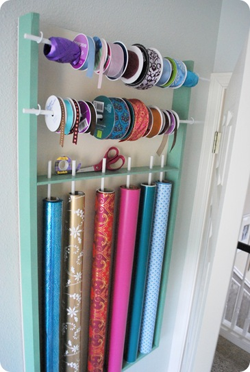 Build this simple wrapping paper & ribbon organizer