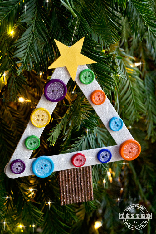 Christmas Crafts For Kids Ideas Part - 46: 4. Button And Glitter Tree
