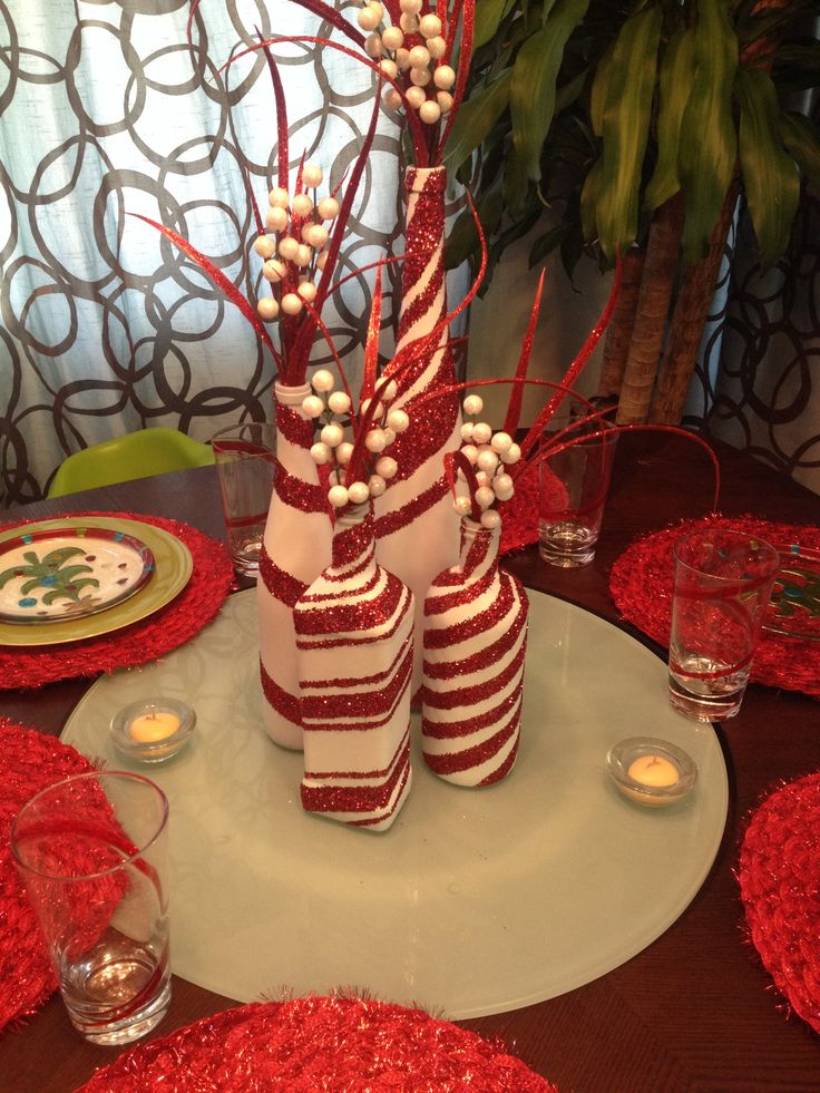 candy cane wine bottles - Christmas Bottle Decorations