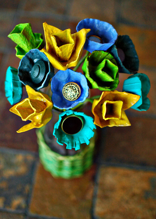 Centerpieces Made out of Egg Cartons and Vintage Buttons