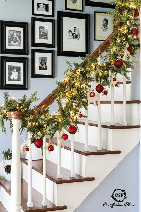 Christmas stairway decor