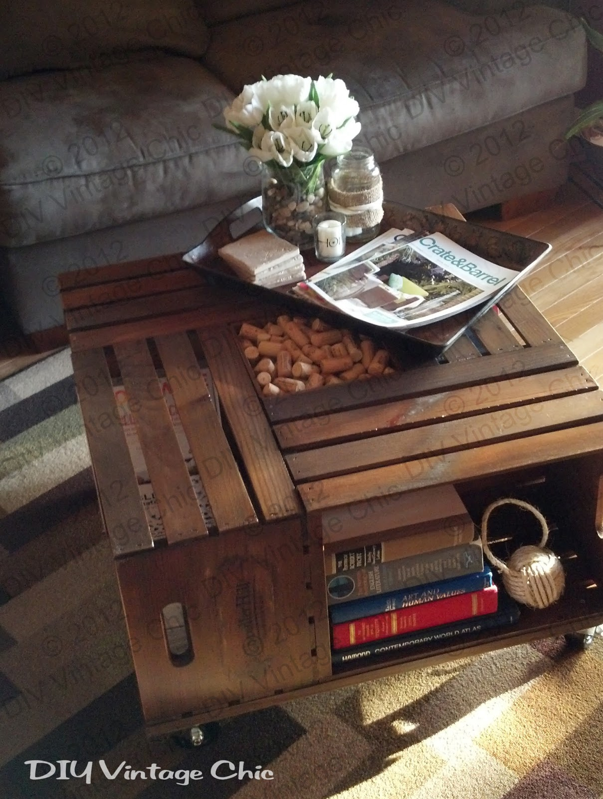 Coffee table made out of wood crates