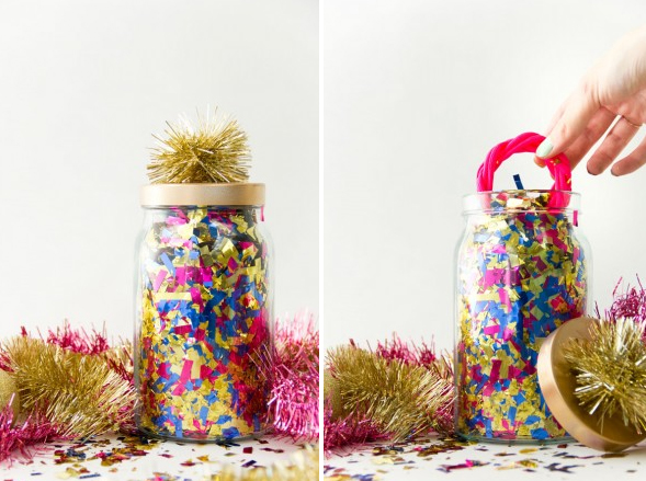 Hidden Gift in a Jar Filled with Confetti
