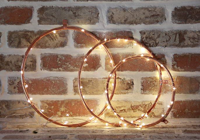 Copper Lighted Wreaths