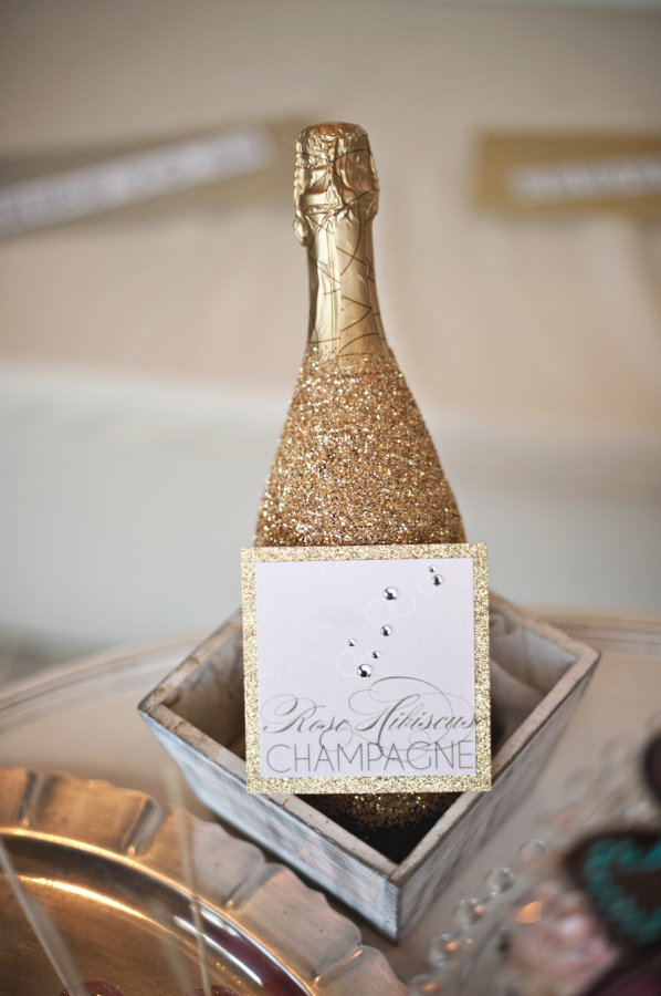 Cover Your Champagne Bottles in Glitter