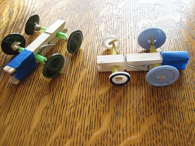 Create This Cool Clothespin Button Racer