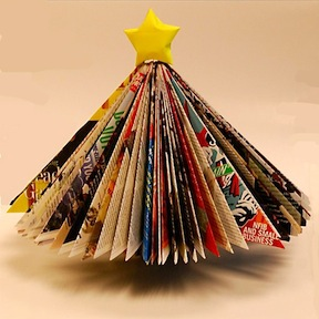 Create a unique Christmas tree out of magazines