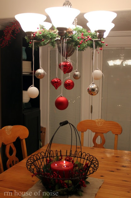 Decorate the Chandelier with Christmas Baubles