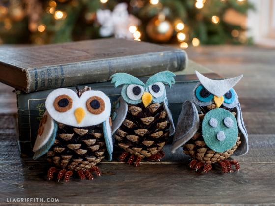 Felt & Pinecone Owl Ornaments