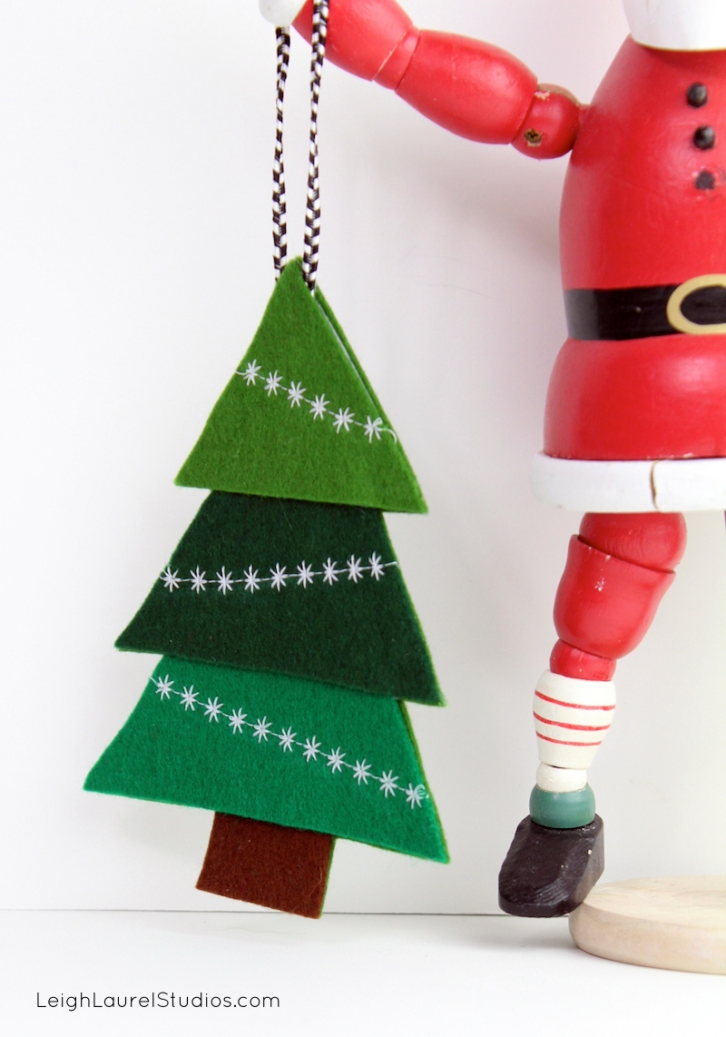 felt tree ornament with decorative machine stitching