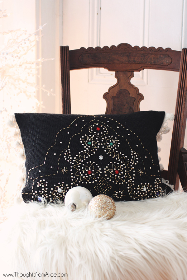 Glam Christmas Throw Pillows from Ugly Sweaters