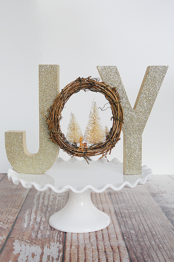 Glitter JOY Letter with Wreath