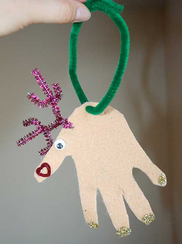 12 handprint reindeer ornaments - Homemade Christmas Decorations For Kids