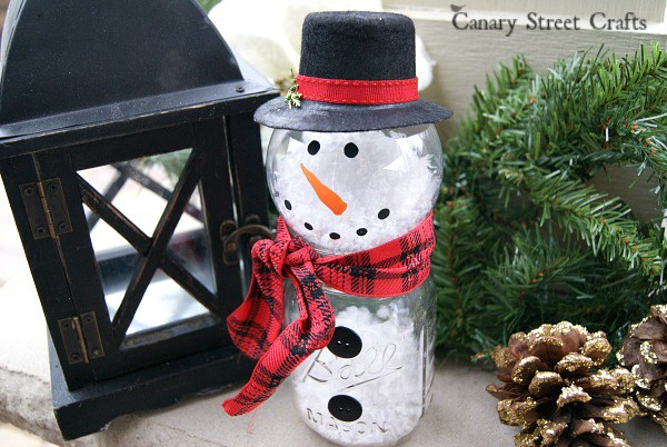Make This Adorable Snowman Using a Mason Jar and a Clear Ornament