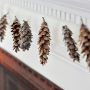 Make This Natural Garland by Wrapping the Ends of Pinecones with Yarn