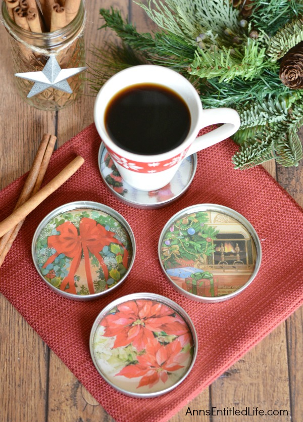 Make Your Own Christmas Coasters Using Jar Lids