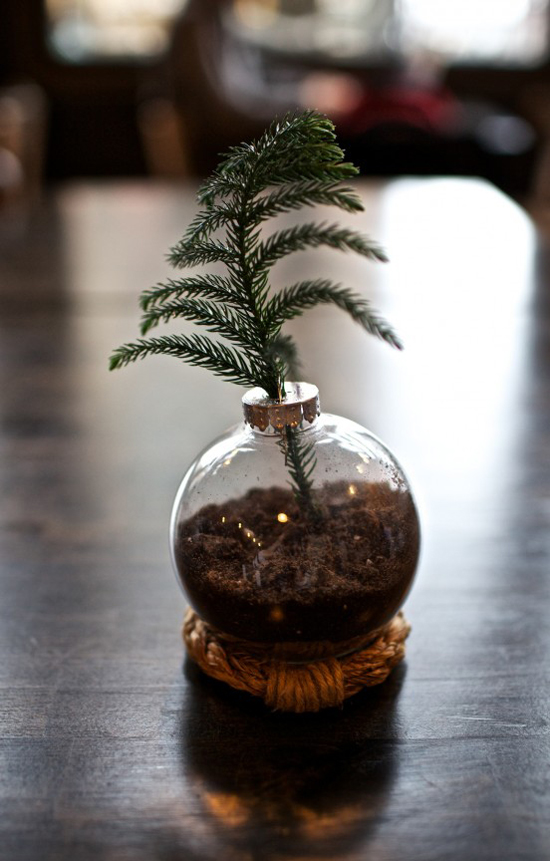 Make a mini Christmas Tree with a sprig of a tree and dirt inside the ornament