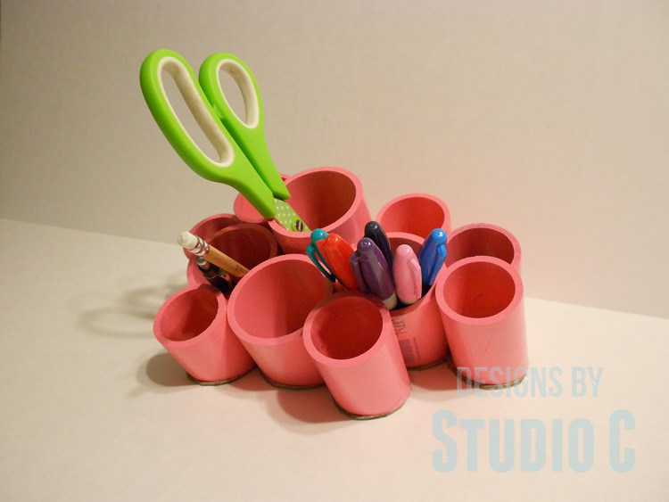 Make desk organizer from PVC pipe