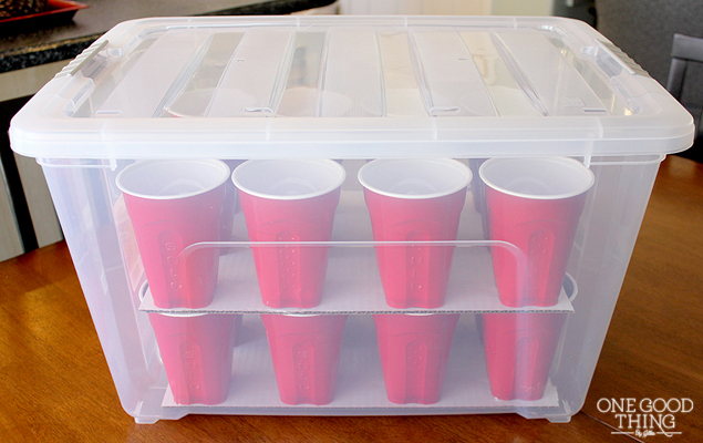 Make your own Christmas ornaments organizer box using large bin and plastic cups