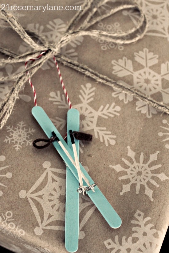 Miniature Skis with Poles Ornament