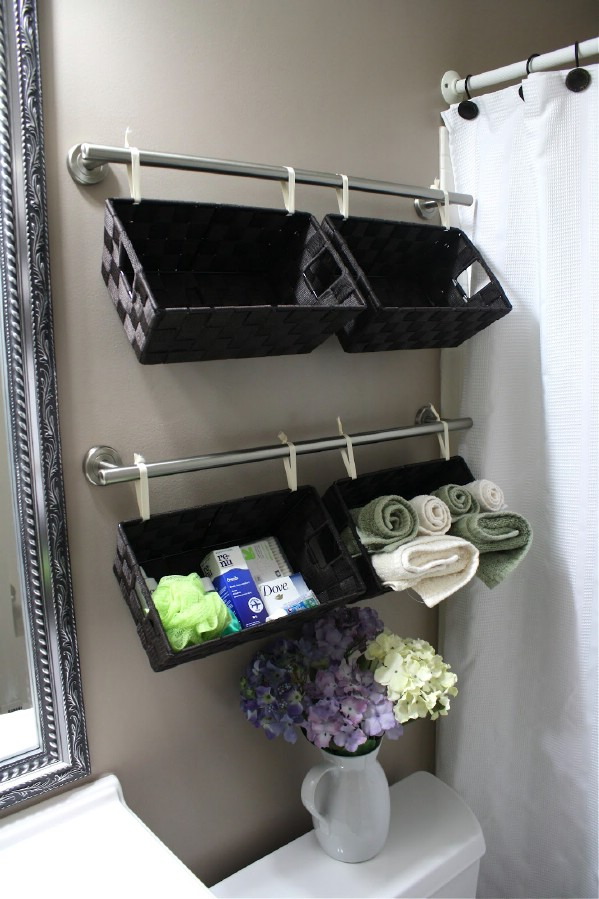 Mount baskets to keep things neat and tidy