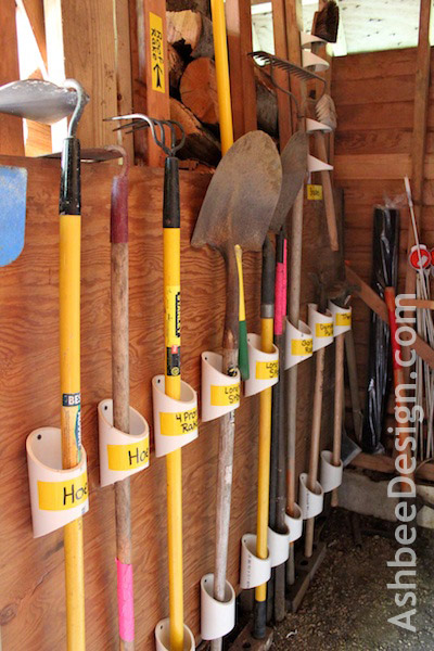 Organize garden tools with PVC