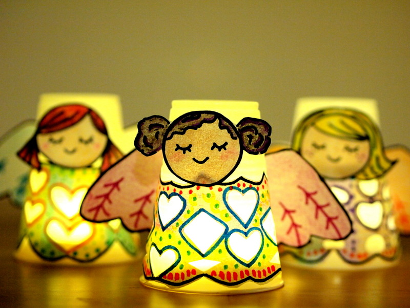Paper Cup Angel Luminaries