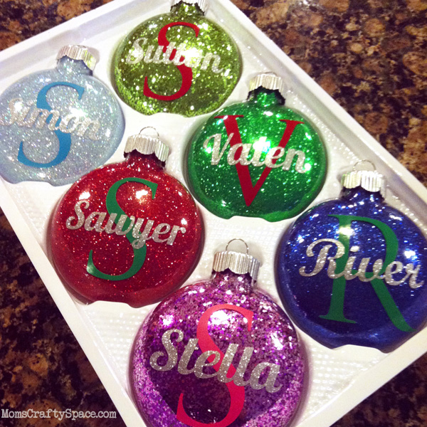 Personalized Glitter Ornaments