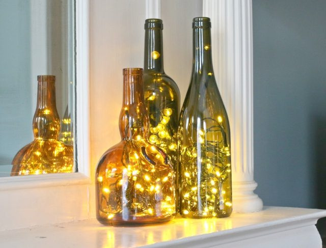 Wine bottle filled with lights