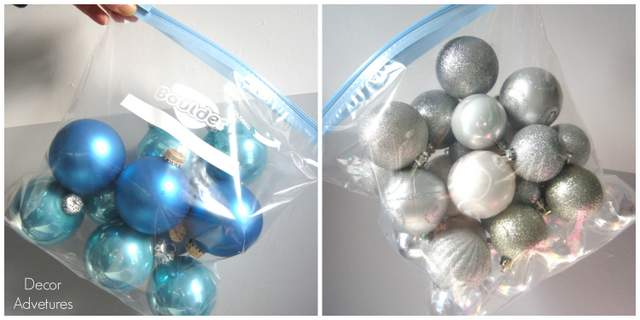 Put your ornaments in zip lock bags