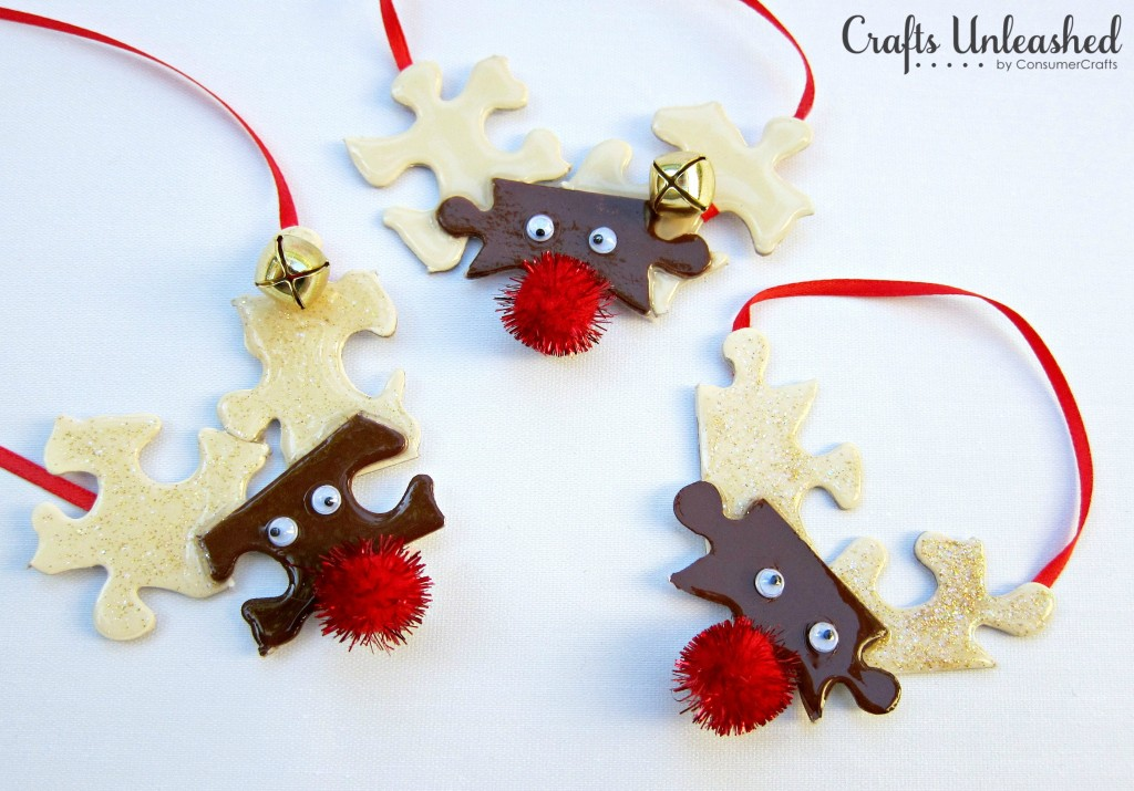 Puzzle Piece Reindeer Ornaments